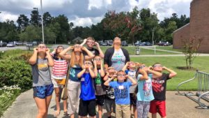 4-H members checking out the 2017 solar eclipse