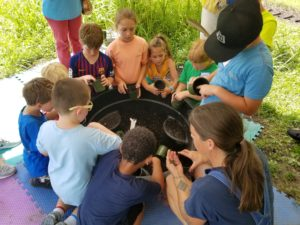 4-H members gather to plant sunflower seeds in their own take-home pot thanks to Lizzie Lou's Farm!