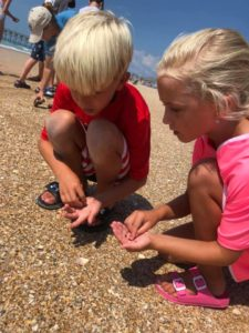 Two young 4-H'ers looking for shells at Topsail Beach during our 2019 4-H Summer Fun program with Ecological Marine Adventures.